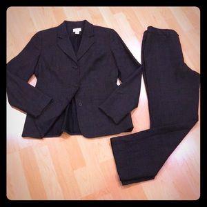 ANN TAYLOR LOFT 100% Wool Pant Suit, Charcoal, EUC